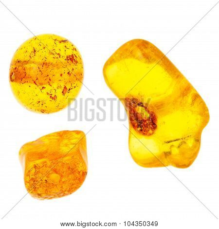 Three Small Amber Beads