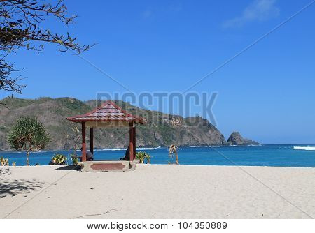 Gazebo on the Mawun beach of  Lombok