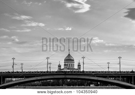 Great Stone Bridge And The Cathedral Of Christ The Savior In Moscow - Black And White Processing