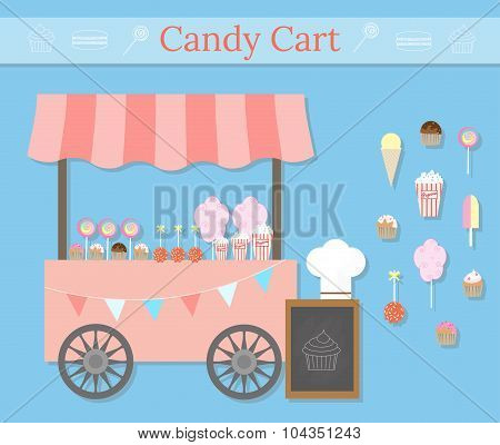 Candy Cart With Desserts.