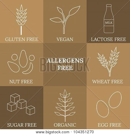 Outline Icons For Allergens Free Products.