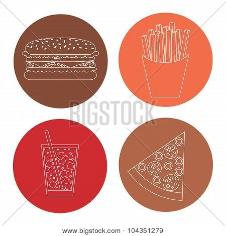 Junk Food Outline Icons.