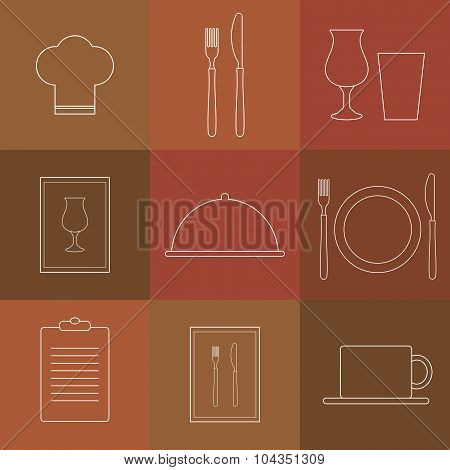 Outline Icons For Restaurant.