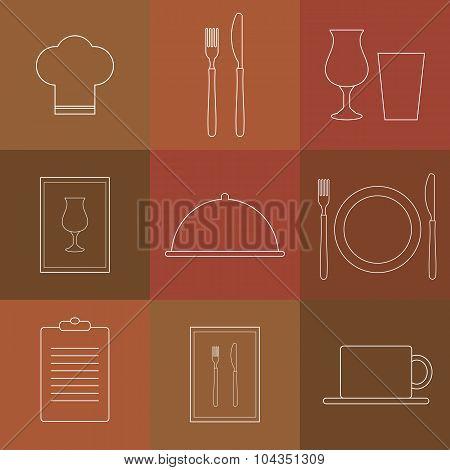 Outline Icons For Restaurant.