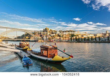 Traditional boat in the Douro River. Porto, Portugal