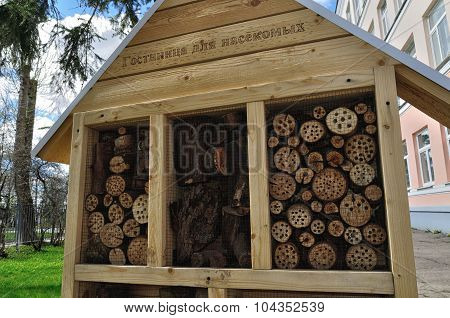 Insect hotel - manmade structure created from natural materials