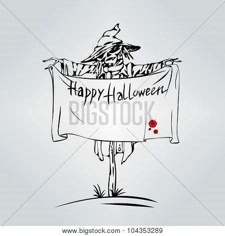 Welcome To Holiday. Halloween Scarecrow.