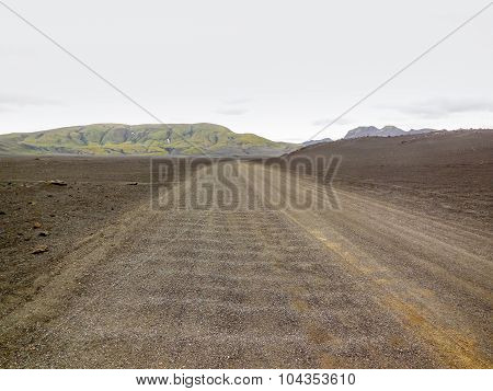 Gravel Road In Iceland
