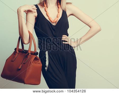 Elegant Fashion Woman With Leather Handbag