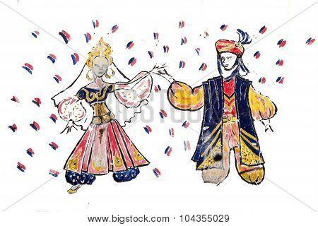 Tradiitional Wedding Drawing