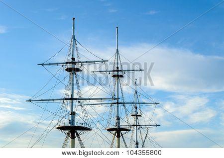 Closeup Of Masts And Rigging Of A Sailing Ship