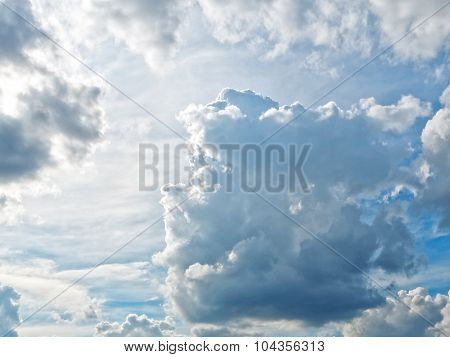 Cloudscape with puffy clouds in partly overcast sky