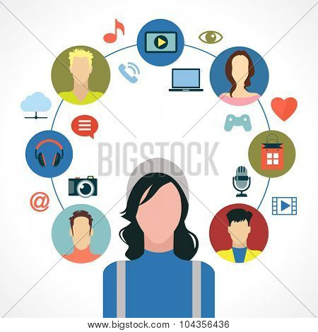 Entertainment in the global computer network. Icon man surrounded by icons of social media entertainment, avatars. Infographic background