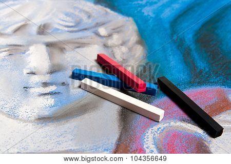 Pastels And Original Pastel Drawing Of Still Life.