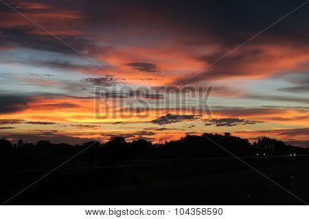 Sunset over Florida Highway
