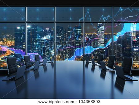 A Conference Room Equipped By Modern Laptops In A Modern Panoramic Office, Evening New York City Vie