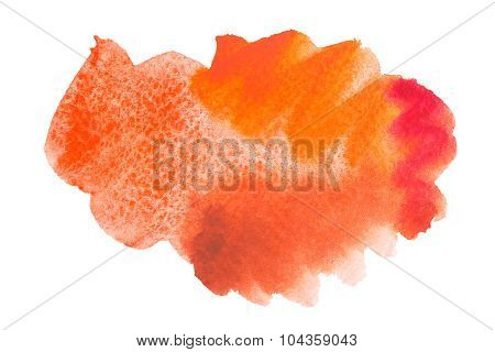 Watercolor hand drawn isolated red and orange spot. Raster illustration