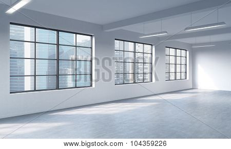 Modern Loft Style Open Space Can Be Used Whether Office Space Or Residential One. 3D Rendering. Huge