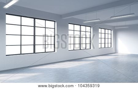 Modern Bright Clean Interior Of A Loft Style Open Space. Huge Windows And White Walls. Copy Space Th