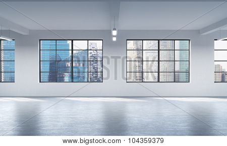 Modern Bright Clean Interior Of A Loft Style Open Space. Huge Windows And White Walls. Singapore Pan