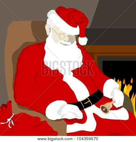 Santa Claus resting near a fireplace after a busy day delivering gifts