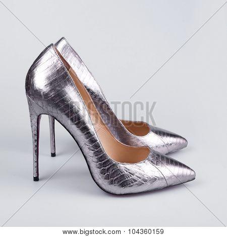 Stylish shoes isolated on white background