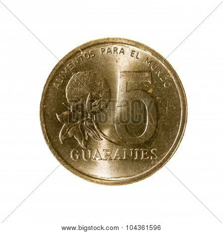 Coin-five Guarani Of Paraguay Isolated On White Background. Top View.