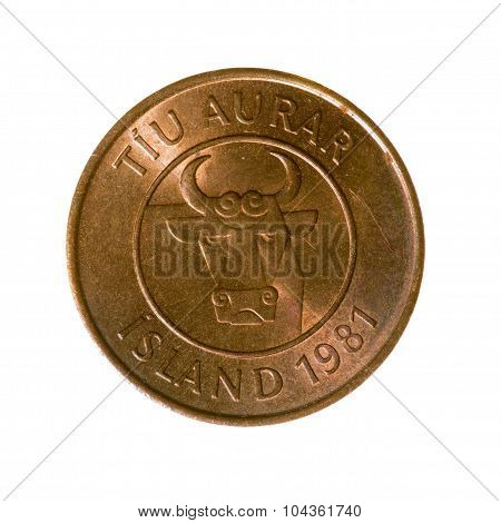 Coin Ten Eire Iceland Isolated On White Background. Top View.