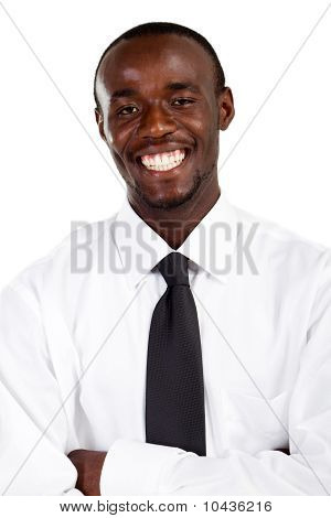 happy young african businessman