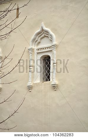 Ancient windows and architectural elements in the St.Nikita building in Veliky Novgorod Russia