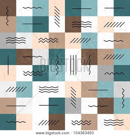 Geometric lines and squares seamless pattern. Retro colors. Textured layers easy editable
