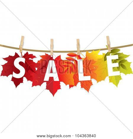 Autumn Sale Leaf With Gradient Mesh, Vector Illustration
