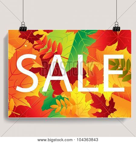 Autumn Sale Banner With Gradient Mesh, Vector Illustration