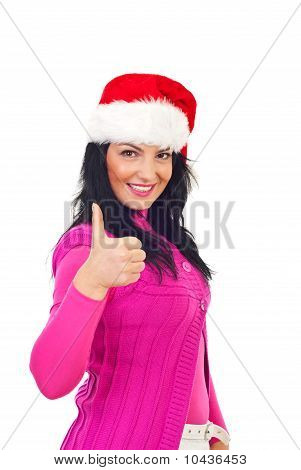 Happy Christmas Woman Giving Thumbs