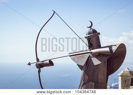 Metal Archer in the fortress of Santa Barbara