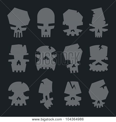 Set Of Scary Monsters Skull Characters For Use In Design