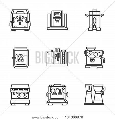 Flat black line coffee machines vector icons