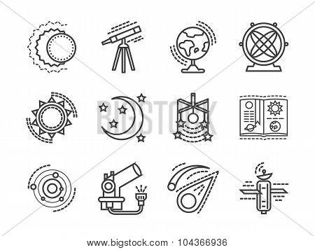 Flat line space research vector icons