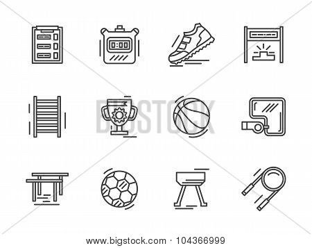 Flat line sports equipment vector  icons.