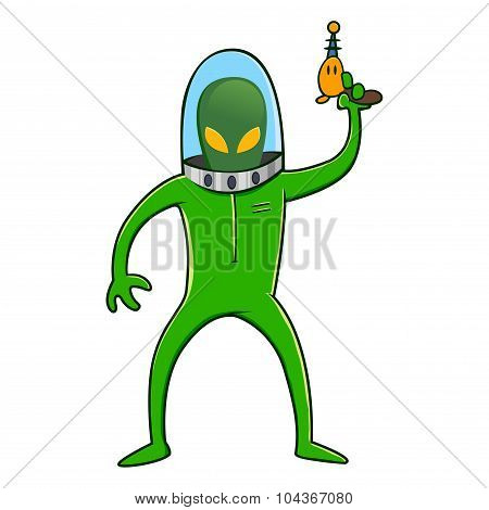 Alien In Space Suit Holding Laser Gun