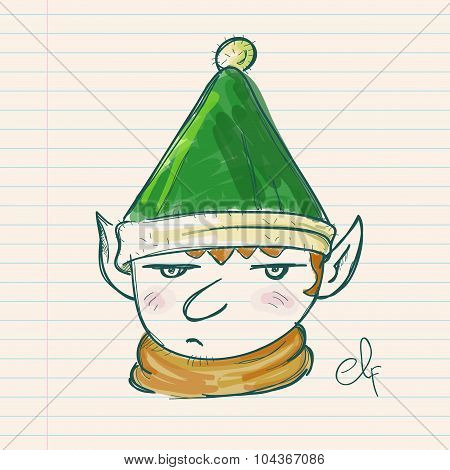 Christmas Elf Hand Drawing On Paper