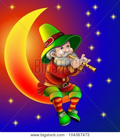 Illustration Magician Plays On Flute Sitting On Moon In The Night