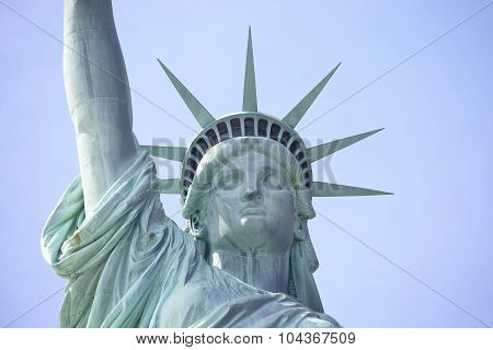 Close Up of Statue of Liberty on Liberty Island in New York