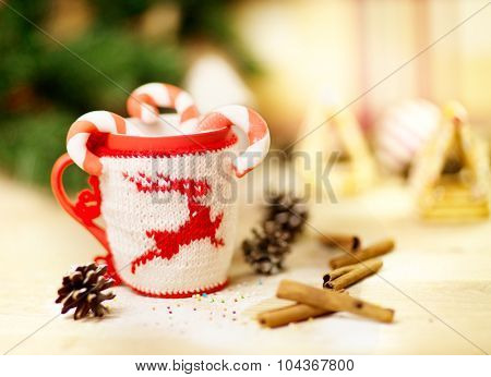 Picture of Christmastime gingerbread with cup of coffee
