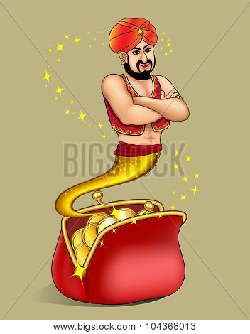 The Illustration Genie  Appears From Wallet With Gold Dollar.