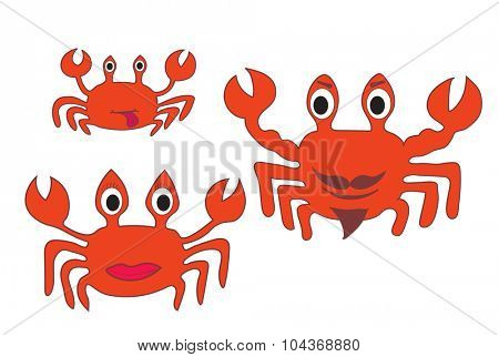 Crab family. Father, mother and cub