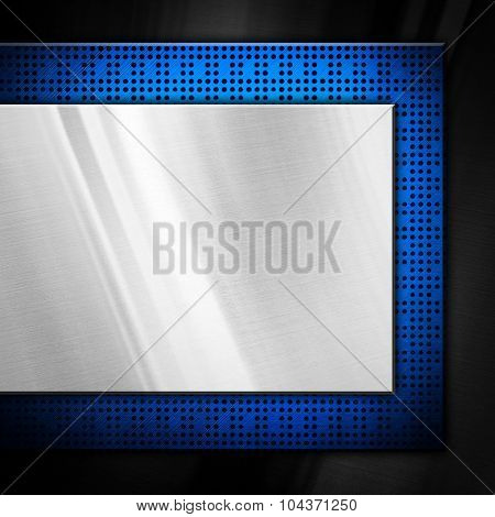 metal plate with blue chip background