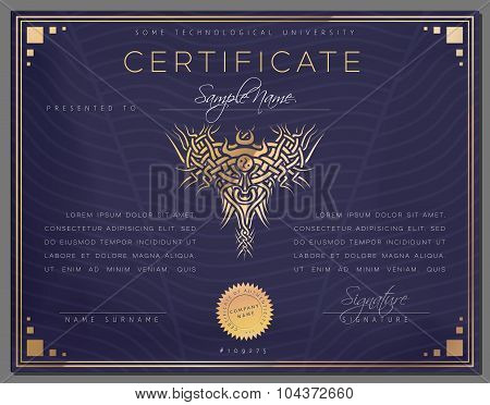 Gift Vintage Certificate / Diploma / Award Border Template Of Course Completion On Paper With Gold