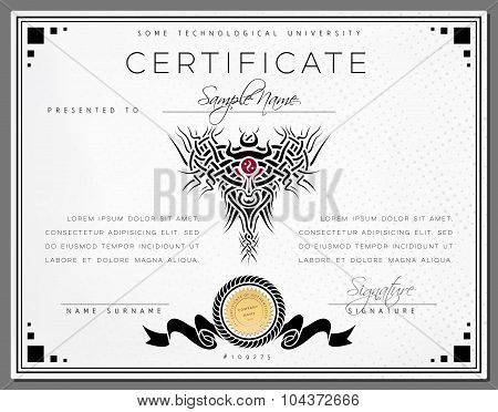 Gift Vintage Certificate / Diploma / Award Border Template Of Course Completion On Dotted Paper