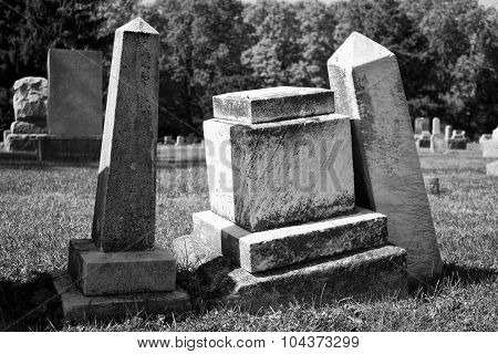 Angled Headstones - Black and White